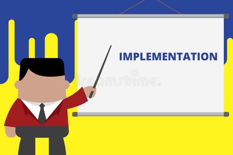 Genomf?rande f?r handskrifttexthandstil Begrepp som betyder processen av att göra något aktiv eller effektiv affärsman vektor illustrationer