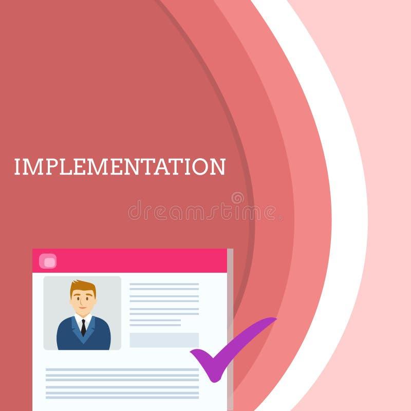 Genomf?rande f?r handskrifttexthandstil Begrepp som betyder processen av att göra något aktivt eller effektivt program stock illustrationer