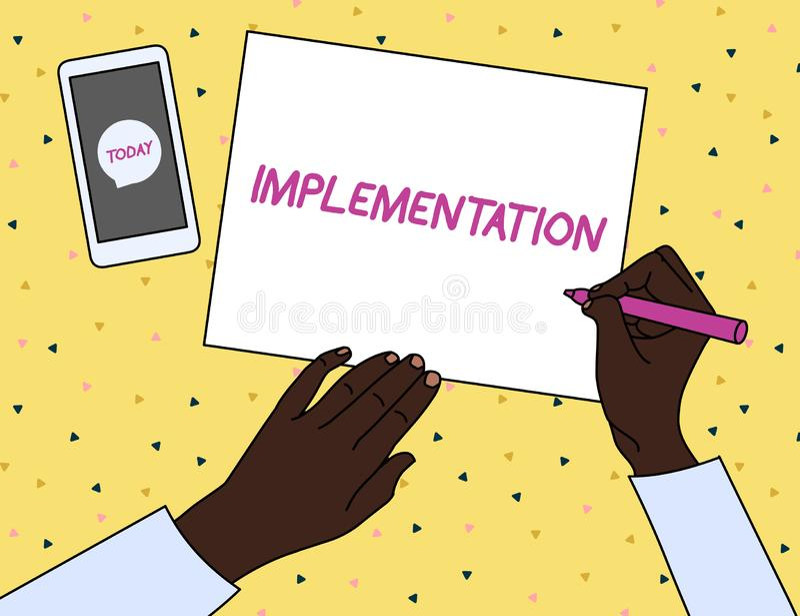 Genomf?rande f?r ordhandstiltext Affärsidé för processen av att göra något aktiv eller effektiv man för bästa sikt stock illustrationer