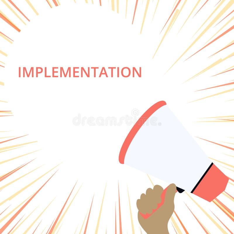 Genomf?rande f?r ordhandstiltext Affärsidé för processen av att göra något aktivt eller effektivt handinnehav stock illustrationer