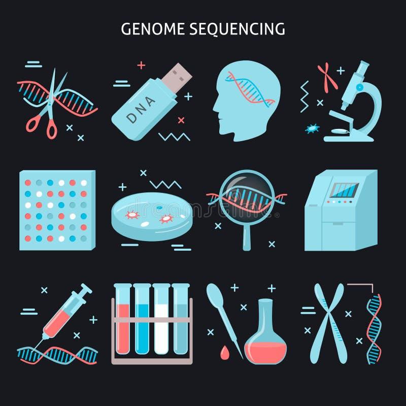 Genomforschungsikone eingestellt in flache Art lizenzfreie abbildung