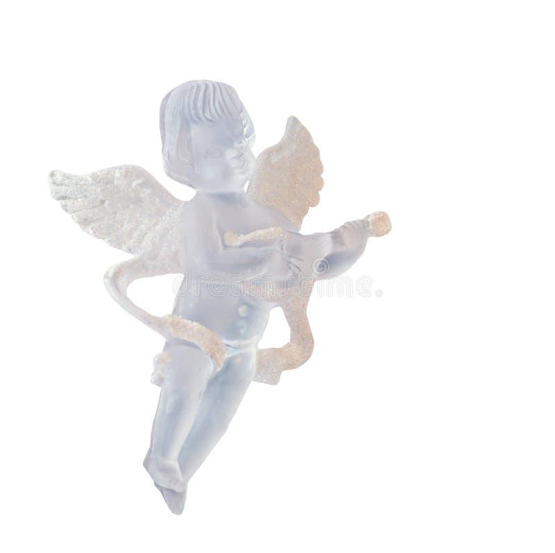 Genomskinlig ängelprydnad för julgranen, vingar och att sjunga och att hänga, isolerat nära övre royaltyfria bilder