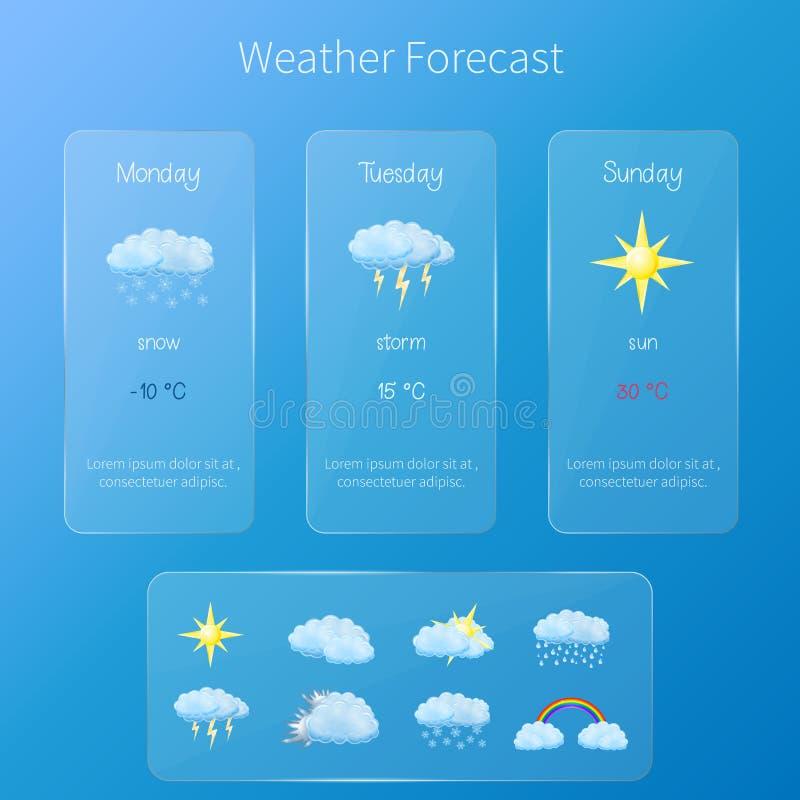 Genomskinlig användargränssnitt - mall för väderprognos med uppsättningen av glansiga och detaljerade symboler arkivbild