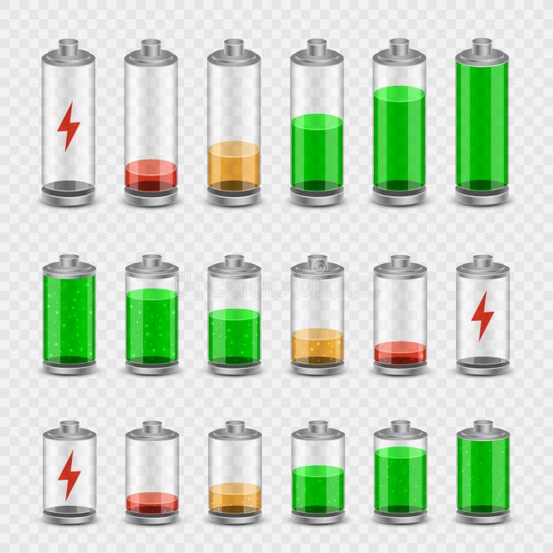 Genomskinlig bakgrund för batterisymbolsuppsättning stock illustrationer