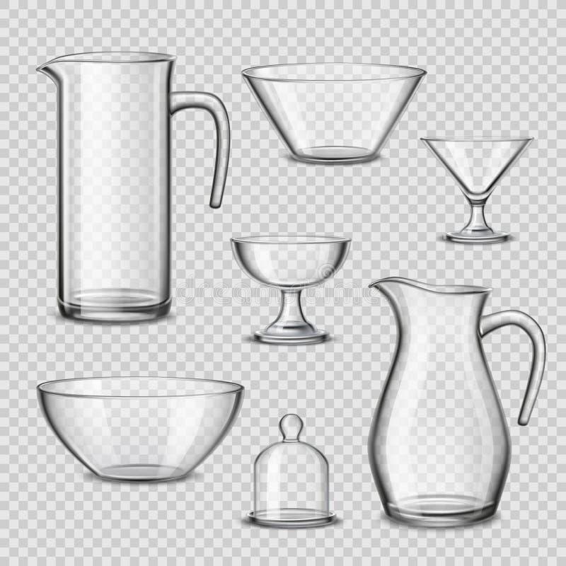Genomskinlig bakgrund för realistisk glasföremålköksgeråd stock illustrationer