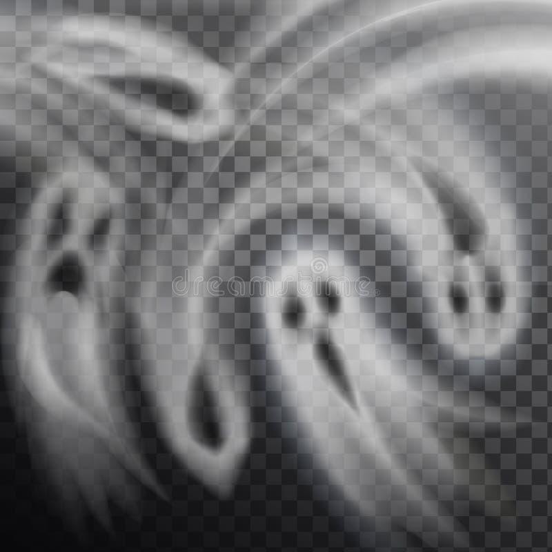 Genomskinlig bakgrund för spökevektorillustration stock illustrationer