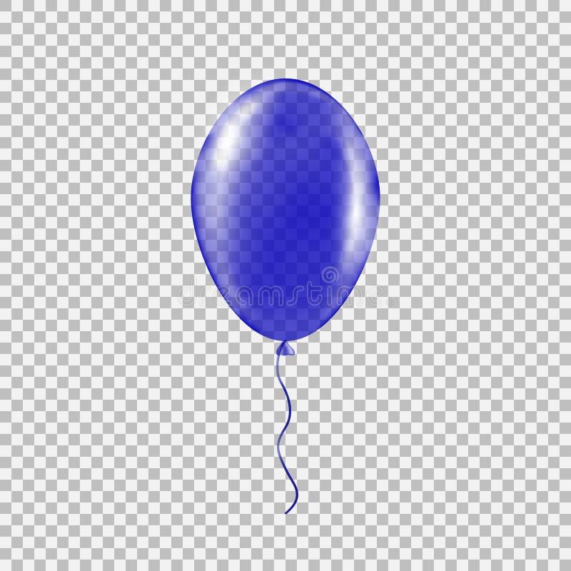 Genomskinlig blå heliumballong stock illustrationer