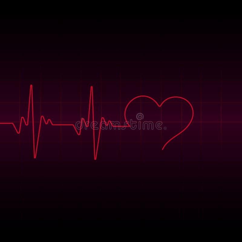Genomskinlig effekt för rött hjärtapulsljus, elektrokardiogram också vektor för coreldrawillustration vektor illustrationer