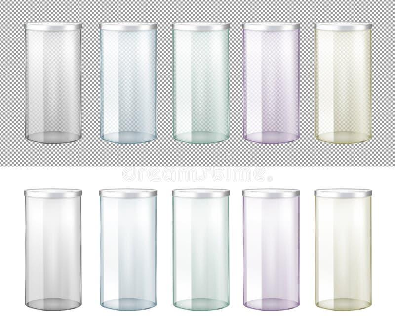 Genomskinlig exponeringsglaskrus med metalllocket royaltyfri illustrationer