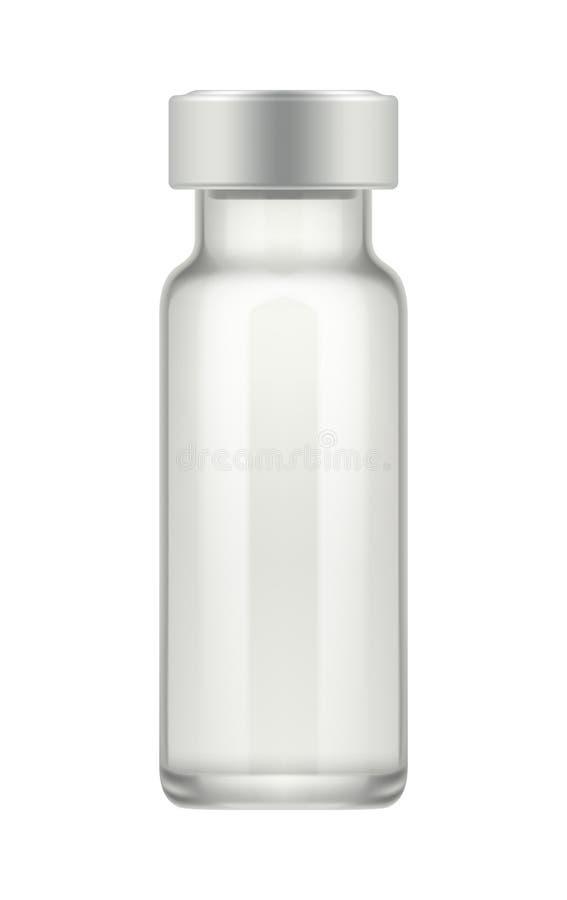 Genomskinlig glass liten medicinflaska för drog royaltyfri fotografi