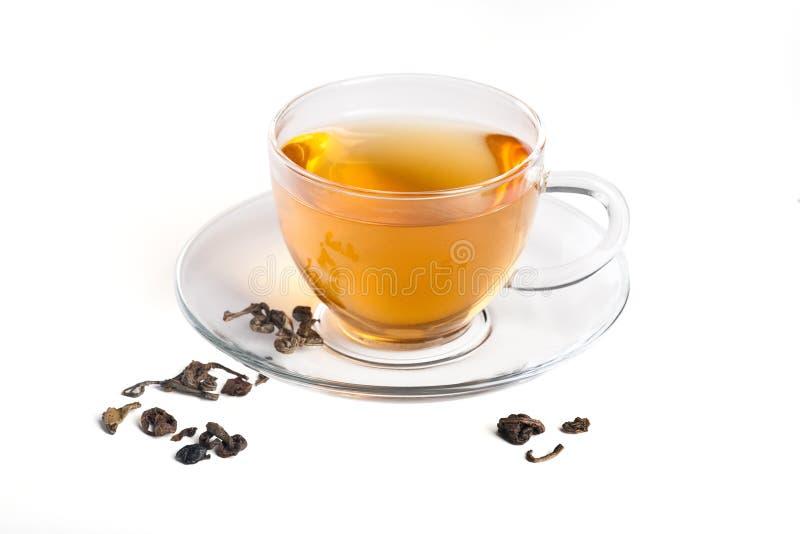 genomskinlig grön tea för kopp arkivbilder