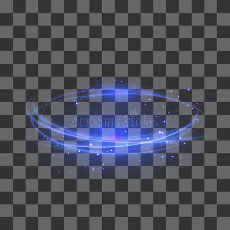 Genomskinlig ljus effekt Blå blixtFlafe design Abstrakt ellips med runda Lens Brand Ring Trace royaltyfri illustrationer