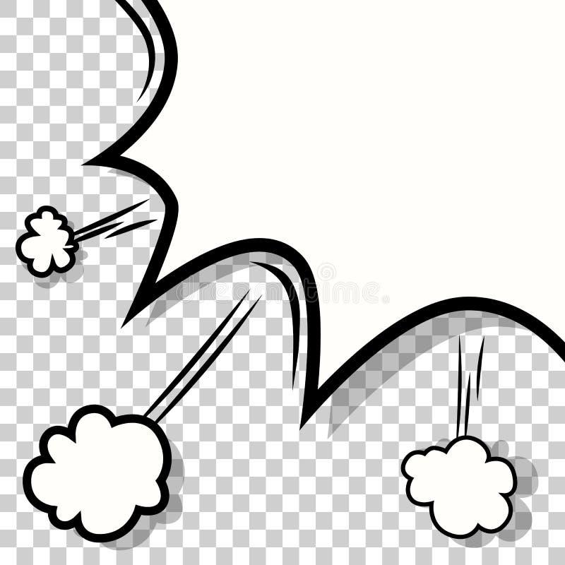 Genomskinlig mall Banghumorbokexplosion royaltyfri illustrationer