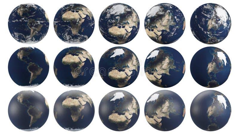 Genomskinlig planetjord från multipel metar att fokusera på olika kontinenter vektor illustrationer