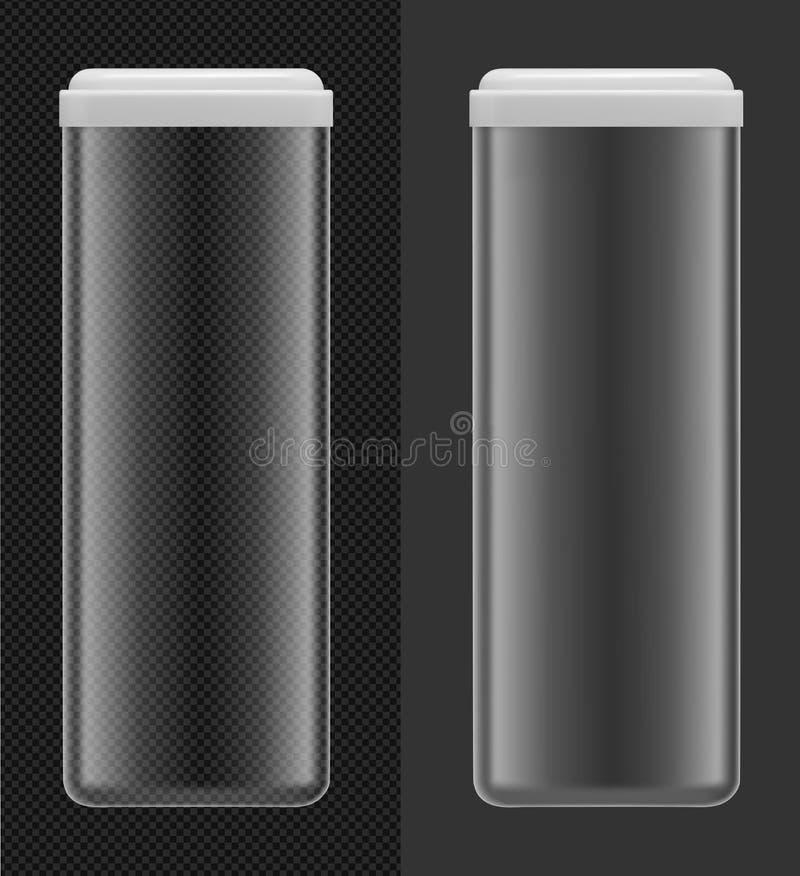 Genomskinlig plast-- eller exponeringsglasmatbehållare med det vita locket Spagetti kan royaltyfri illustrationer