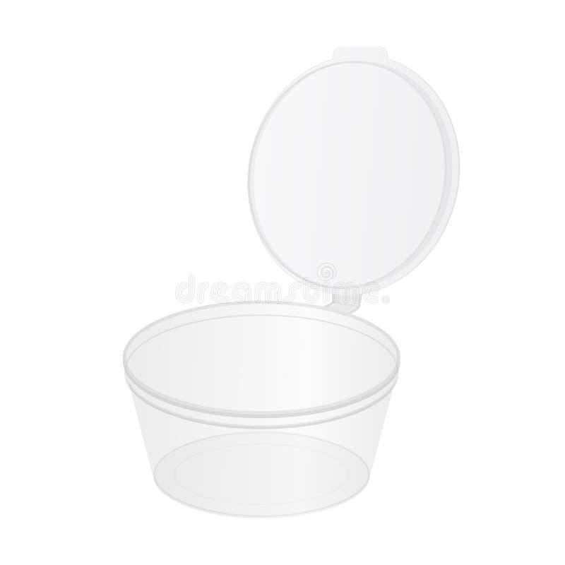 Genomskinlig plast- mat badar för mellanmål, soya, kräm, yoghurten, glass med locket vektor illustrationer