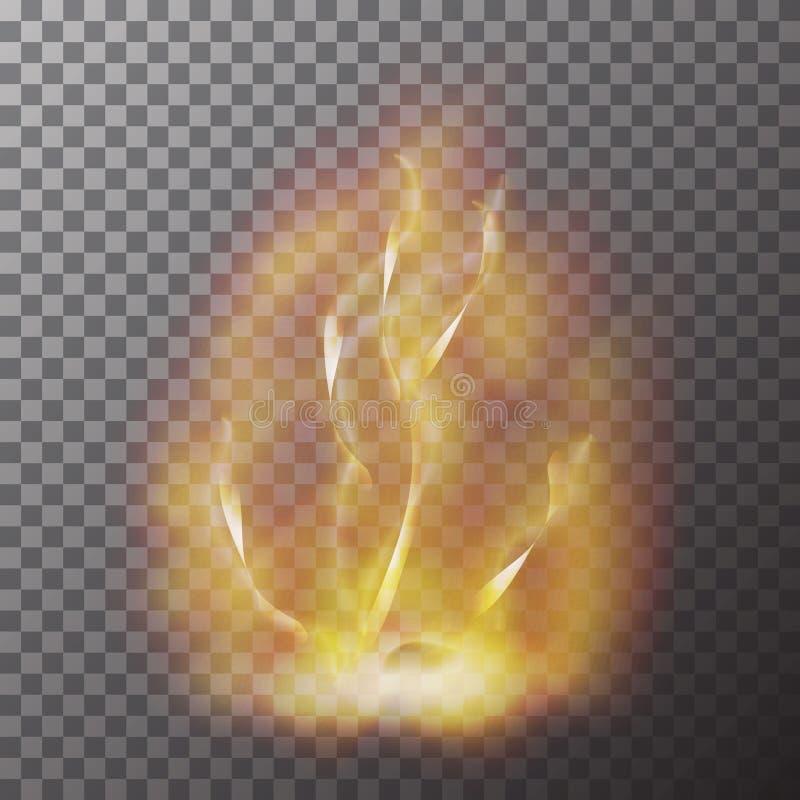 Genomskinlig röd gul isolerad flammaeffekt på kontrollörbakgrund Realistisk decoratio för brandeffekt royaltyfri illustrationer