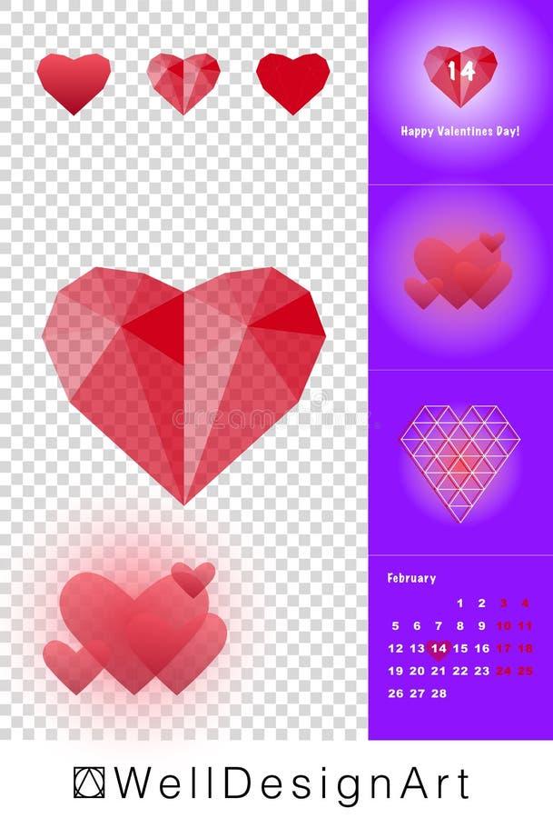 Genomskinlig röd Polygonal hjärta för lyckliga Valentine Day arkivbild