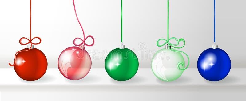 Genomskinlig realistisk för julbollar för vektor 3d samling stock illustrationer