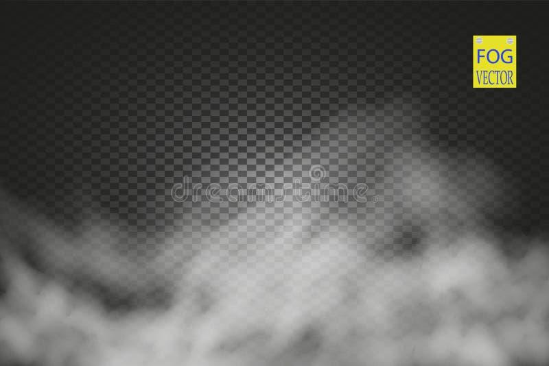 Genomskinlig specialeffekt för dimma eller för rök Vit vektormolnighet, mist eller smogbakgrund vektor vektor illustrationer