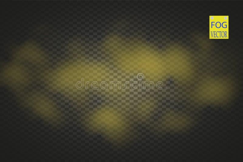 Genomskinlig specialeffekt för guld- rök Gul vektormolnighet, mist eller smogbakgrund också vektor för coreldrawillustration vektor illustrationer
