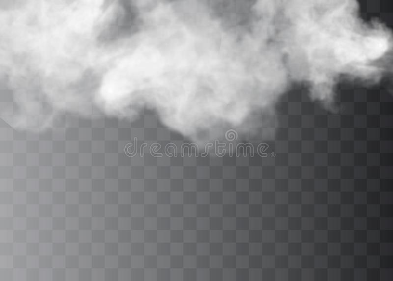 Genomskinlig specialeffekt står ut med dimma eller rök Vit molnvektor, dimma eller smog stock illustrationer
