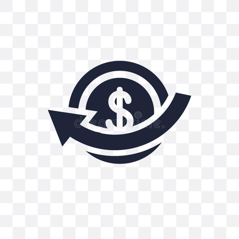 Genomskinlig symbol för återbäring Återbäringsymboldesign från betalningcolle stock illustrationer