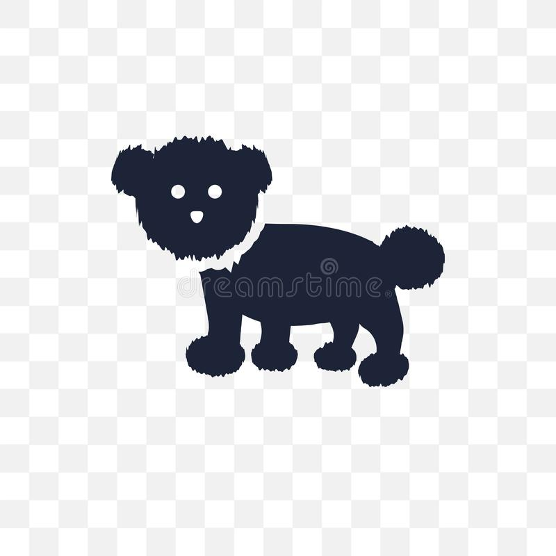 Genomskinlig symbol för Bichon Frise hund Desig för Bichon Frise hundsymbol stock illustrationer