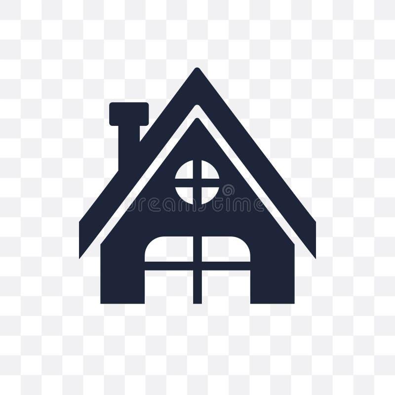 Genomskinlig symbol för chalet Chaletsymboldesign från vintercollec royaltyfri illustrationer