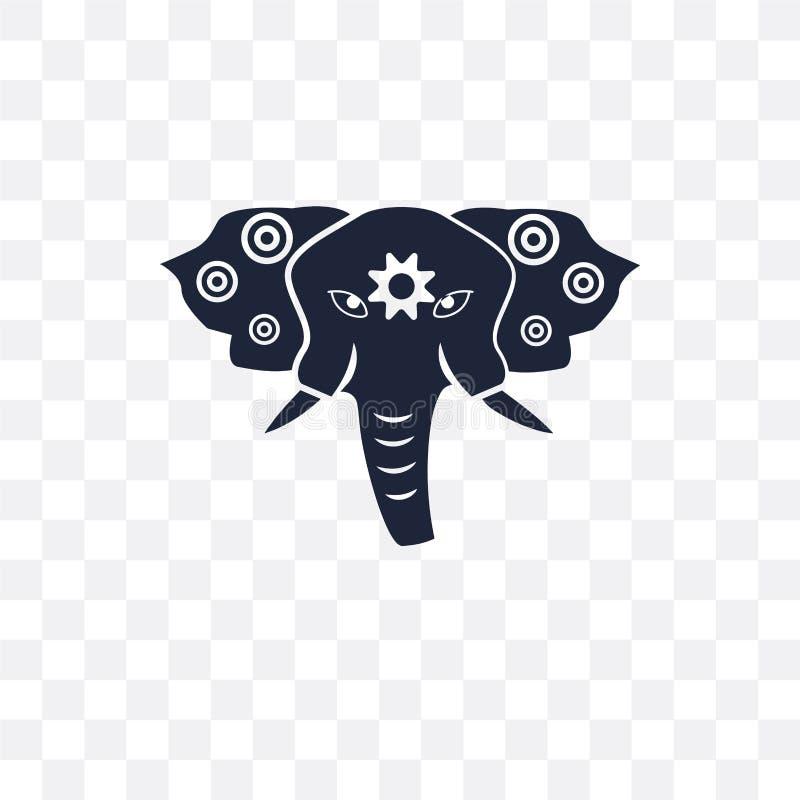 genomskinlig symbol för helig elefant helig elefantsymboldesign från royaltyfri illustrationer