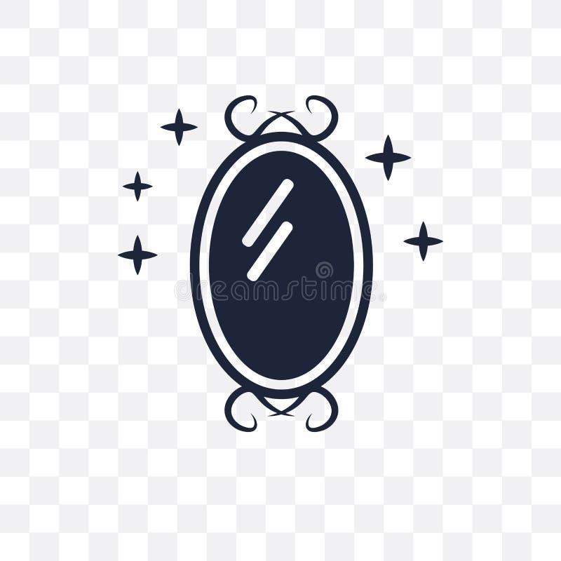 Genomskinlig symbol för magisk spegel Magisk spegelsymboldesign från F stock illustrationer