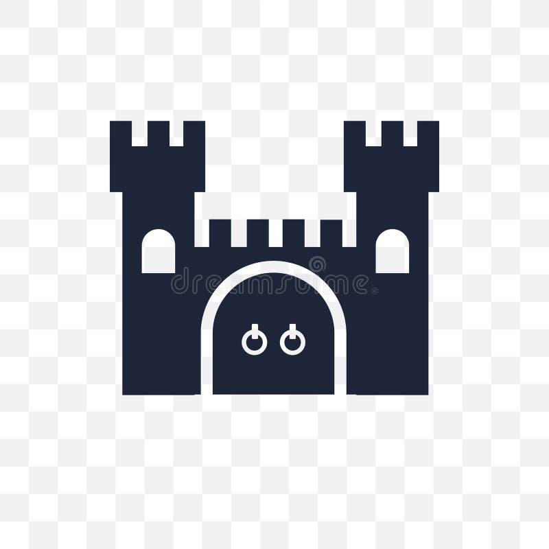 Genomskinlig symbol för slott Slottsymboldesign från sagan Co stock illustrationer
