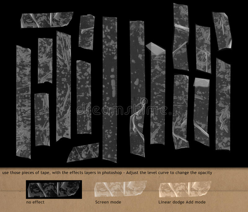 Genomskinlig tejp på svart bakgrund vektor illustrationer