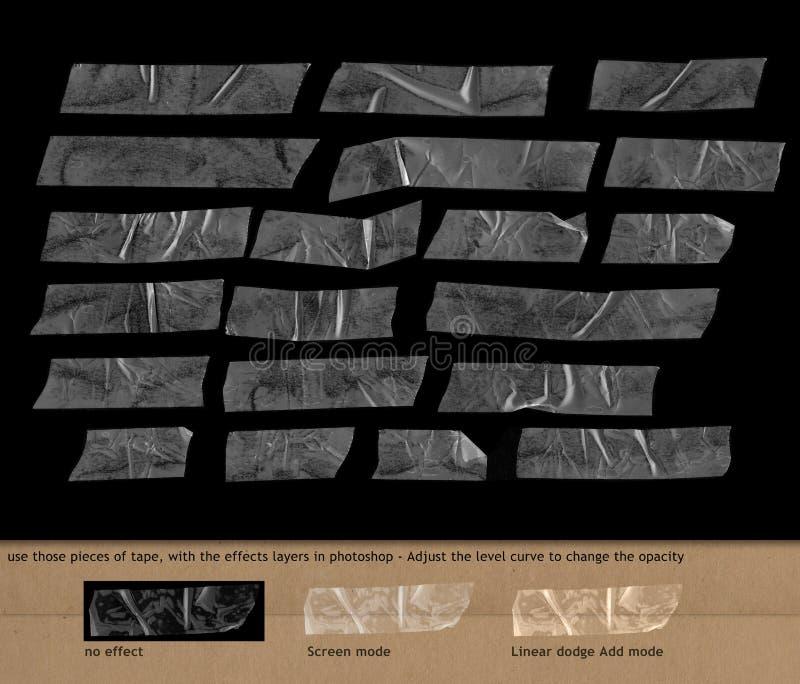 Genomskinlig tejp på svart bakgrund stock illustrationer