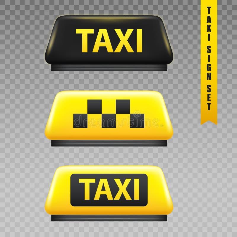 Genomskinlig uppsättning för taxitecken vektor illustrationer