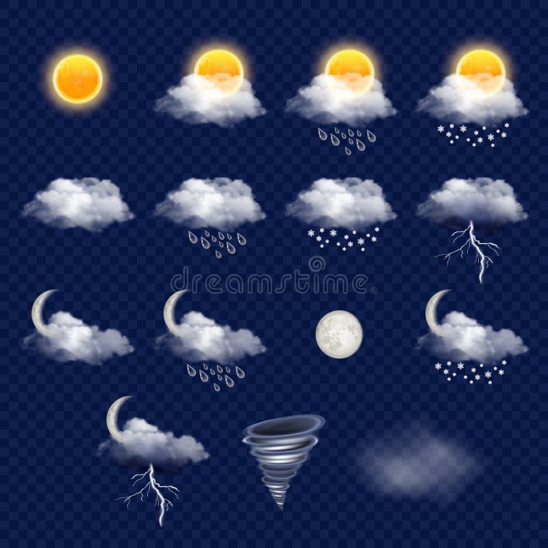 Genomskinlig uppsättning för väderprognossymbol, realistisk illustration för vektor stock illustrationer