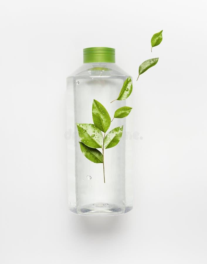 Genomskinlig vätskeflaska med det gröna locket Klart naturvatten med gröna flygsidor och brännmärkaåtlöje upp royaltyfri bild