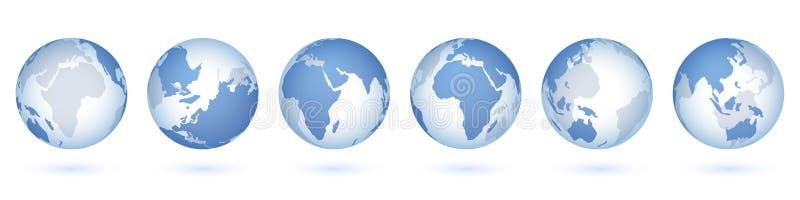 genomskinlig v?rld f?r jordklot realistisk sfär 3D med USA Asien Europa, cirkelexponeringsglasplaneten och världskartan Isolerad  royaltyfri illustrationer