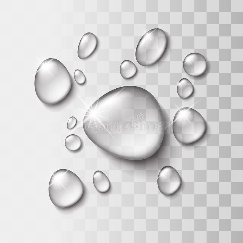 Genomskinlig vattendroppe royaltyfri illustrationer