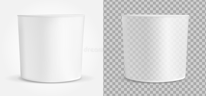 Genomskinlig vit behållare för glass eller snabbmat Förpacka för popcorn och mellanmål royaltyfri illustrationer