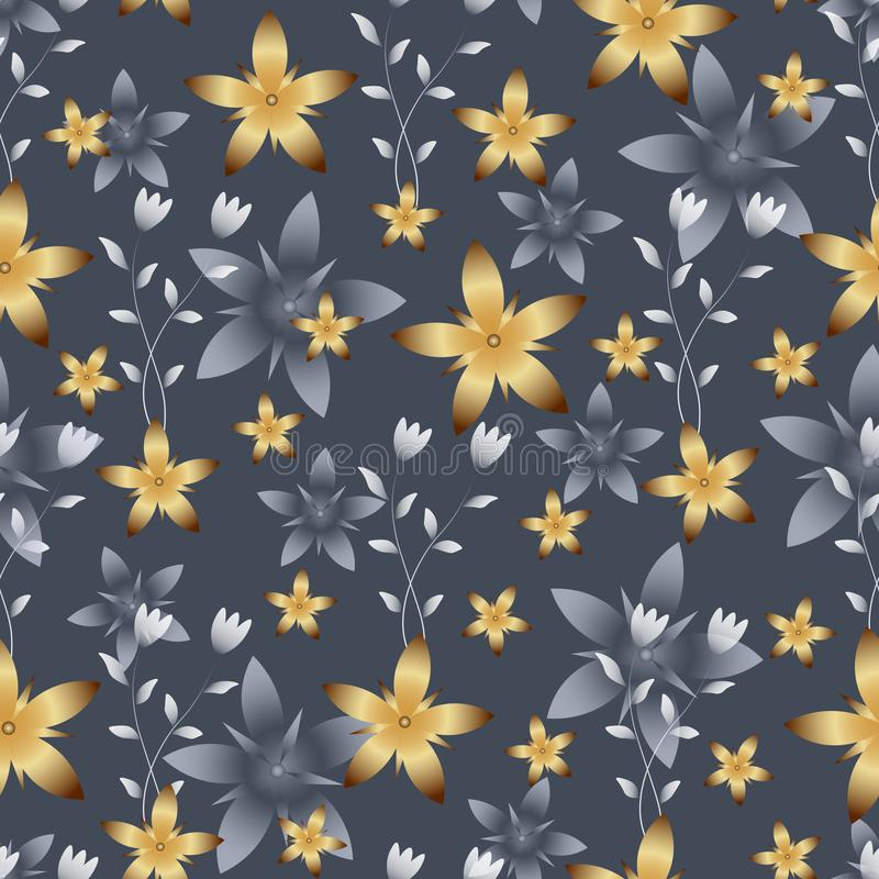 Genomskinlig vit och ljusa guld- blommor på Gray Background royaltyfri illustrationer