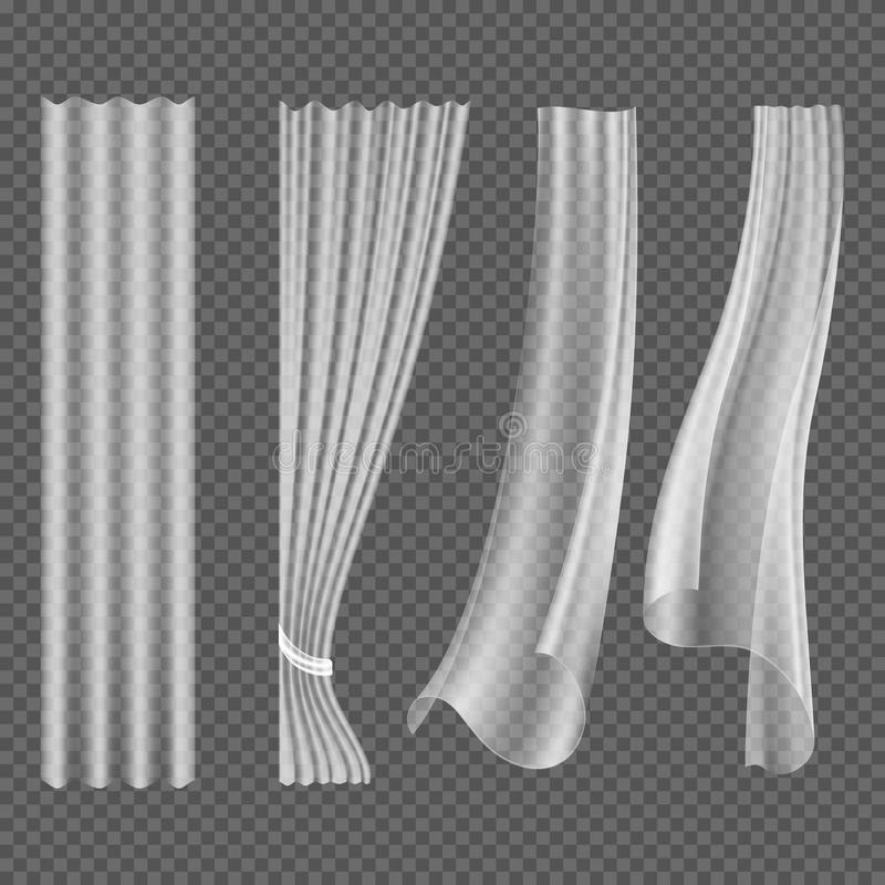 Genomskinlig vit som fladdrar gardiner, hängande uppsättning för fönstergarneringvektor vektor illustrationer