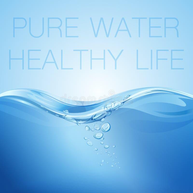 Genomskinlig yttersida för vattenvåg med bubblor Sunt liv för rent vatten också vektor för coreldrawillustration stock illustrationer