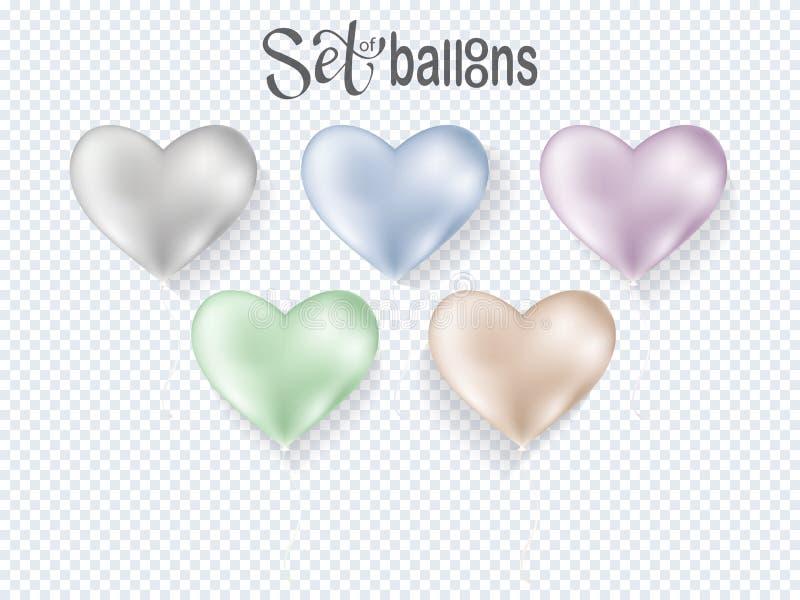 Genomskinliga ballonger för hjärta på bakgrund stock illustrationer