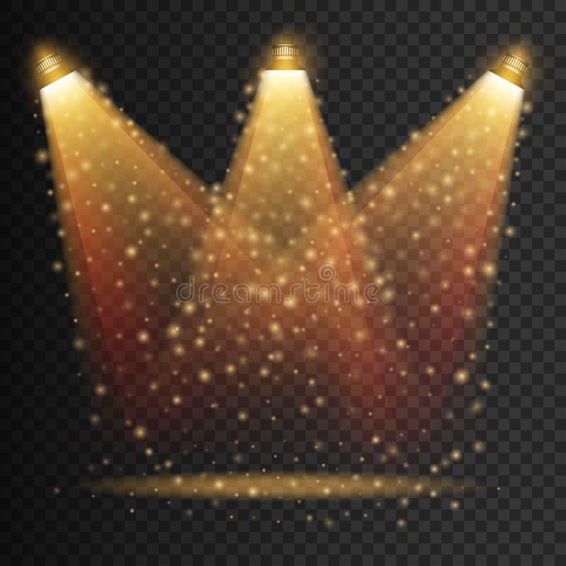 Genomskinliga effekter för platsbelysning på en plädmörkerbakgrund Ljus belysning med isolerade strålkastare vektor royaltyfri illustrationer