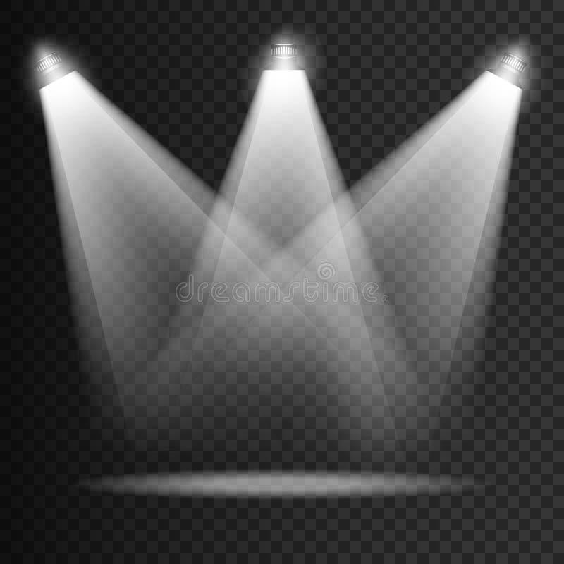 Genomskinliga effekter för platsbelysning på en plädmörkerbakgrund Ljus belysning med strålkastare vektor vektor illustrationer
