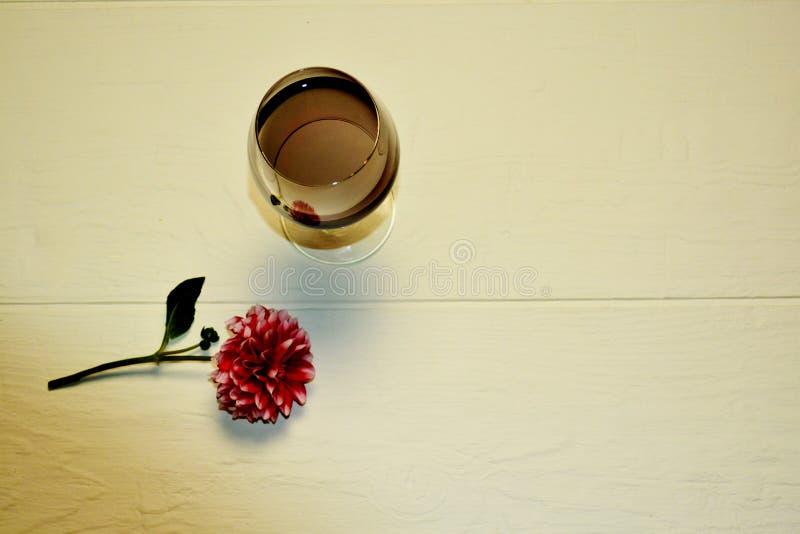 Genomskinliga exponeringsglas ligger med rött vin på en vit bakgrund arkivbild