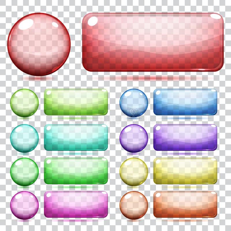 Genomskinliga exponeringsglasknappar vektor illustrationer