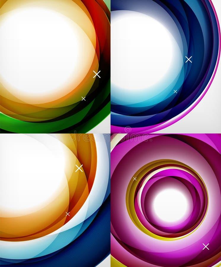 Genomskinliga färgvåglinjer abstrakt bakgrundsuppsättning, glansigt exponeringsglas vinkar, abstrakta bakgrunder för vektorn, ski royaltyfri illustrationer