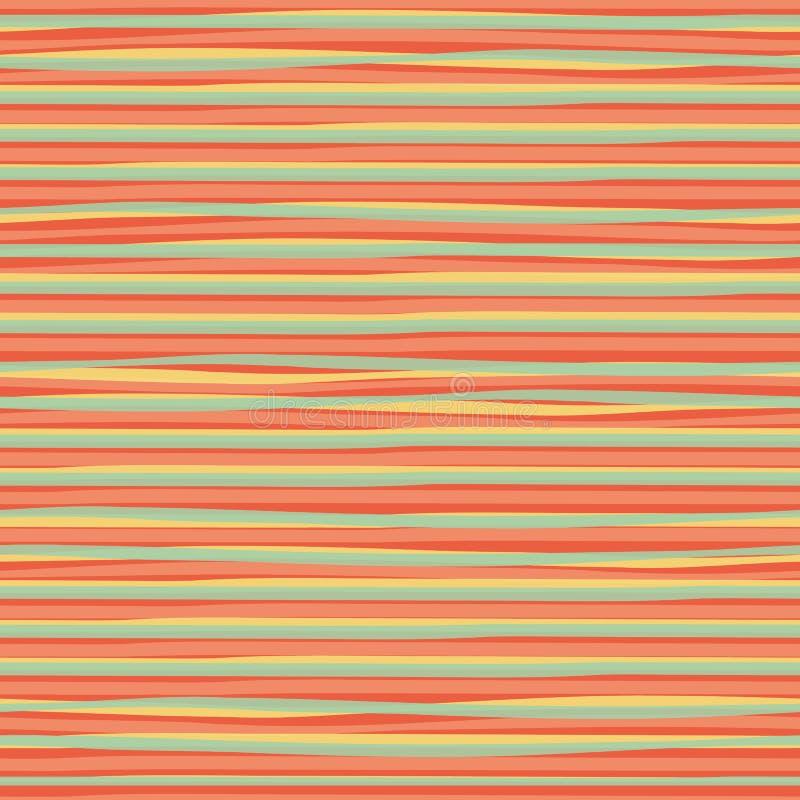 Genomskinliga horisontalband för blått gult klotter som skapar en vattenfärgeffekt Sömlös modell för vektor på apelsinen stock illustrationer